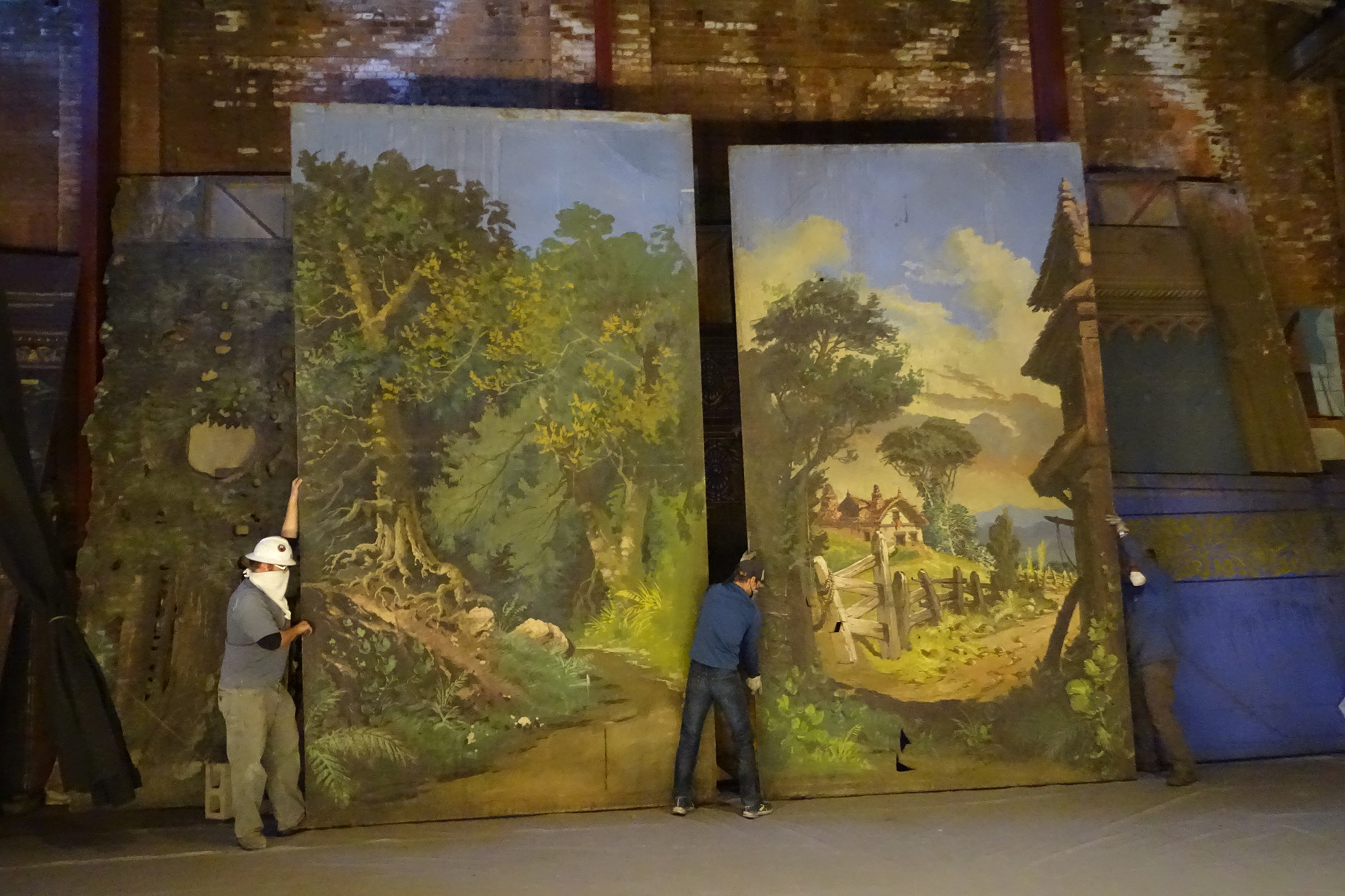Panels from theatrical scenery found in the Tabor Opera House.