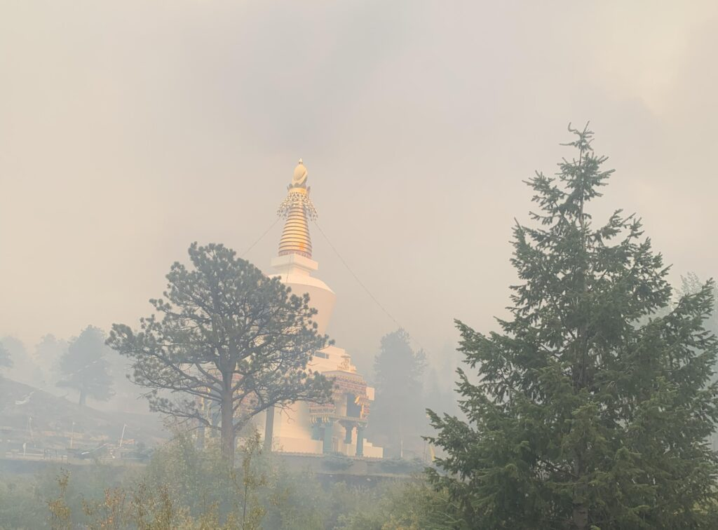 The temple of the Shambala Mountain Center is undamaged on Sept. 27, 2020, after the Cameron Peak fire burned through the area.