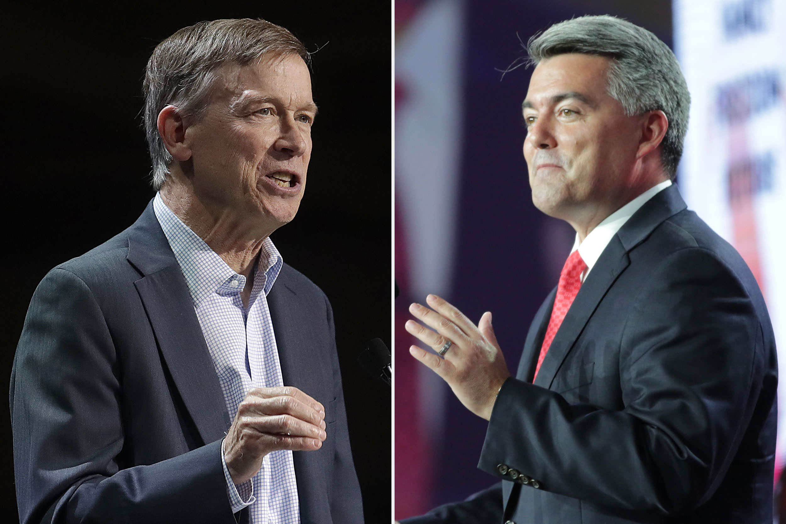 Former Gov. John Hickenlooper, left, during the 2019 California Democratic Party State Organizing Convention in San Francisco, and Sen. Cory Gardner at the 2019 Western Conservative Summit in Denver.