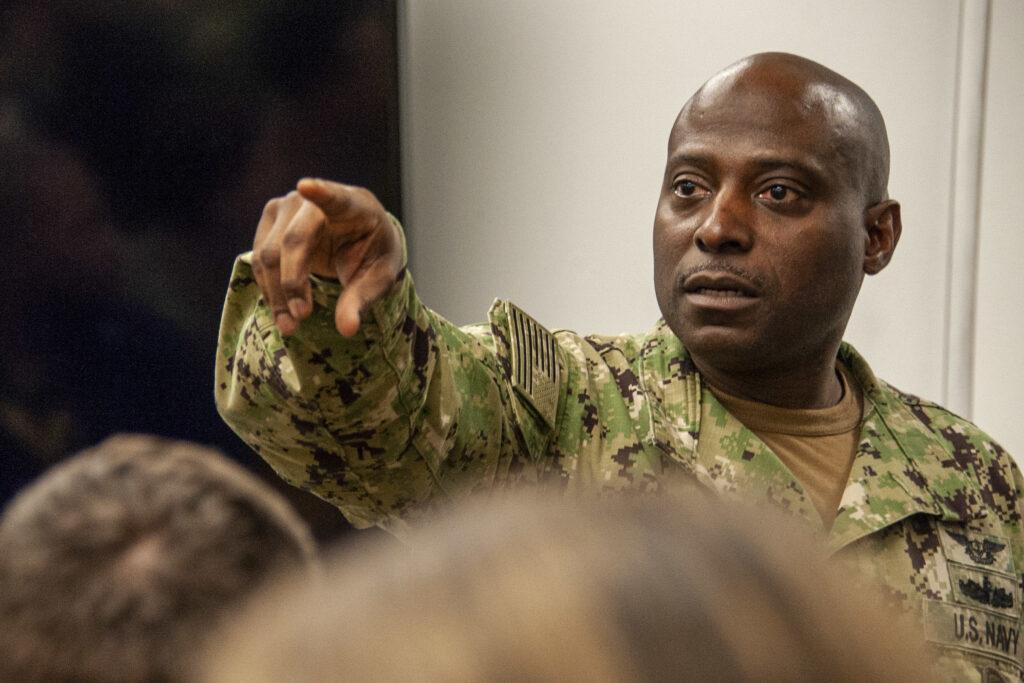 Force Master Chief Huben Phillips visits JFK