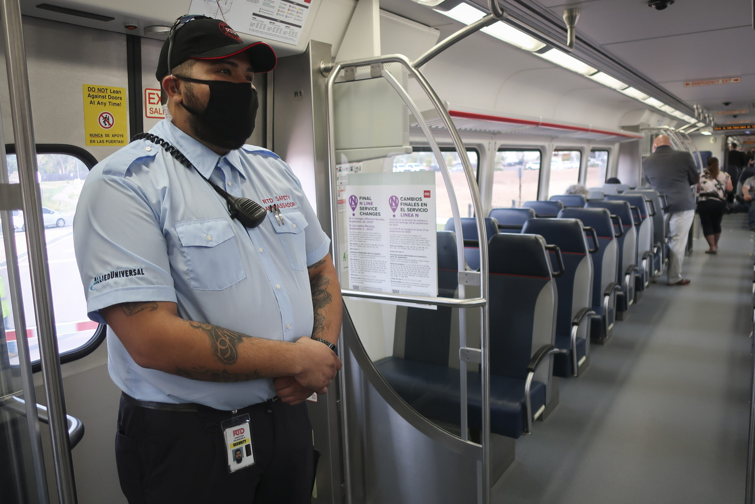Transit safety ambassador Jonathan Valenzuela stands aboard RTD's N Line train in Thornton, Colorado on Sept. 17, 2020.