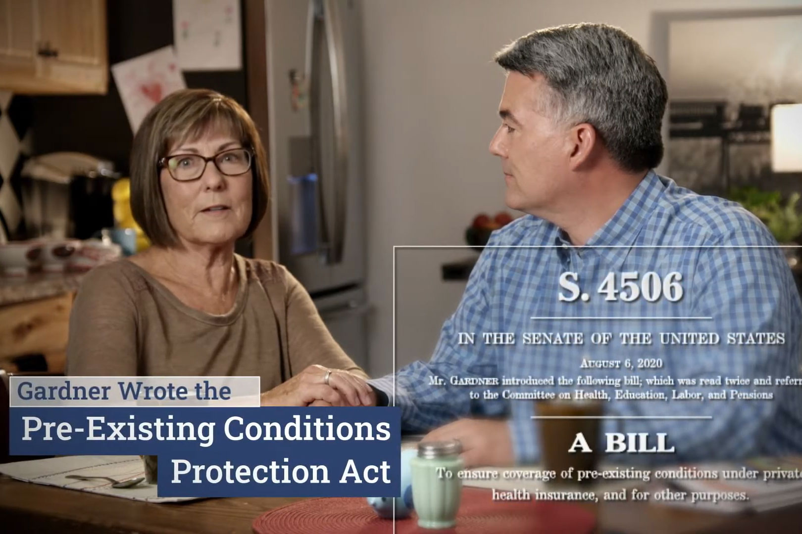 A screengrab of a Sen. Cory Gardner campaign ad that came out on Sept. 15, 2020, in which he claims he wrote the bill on protection preexisting conditions.