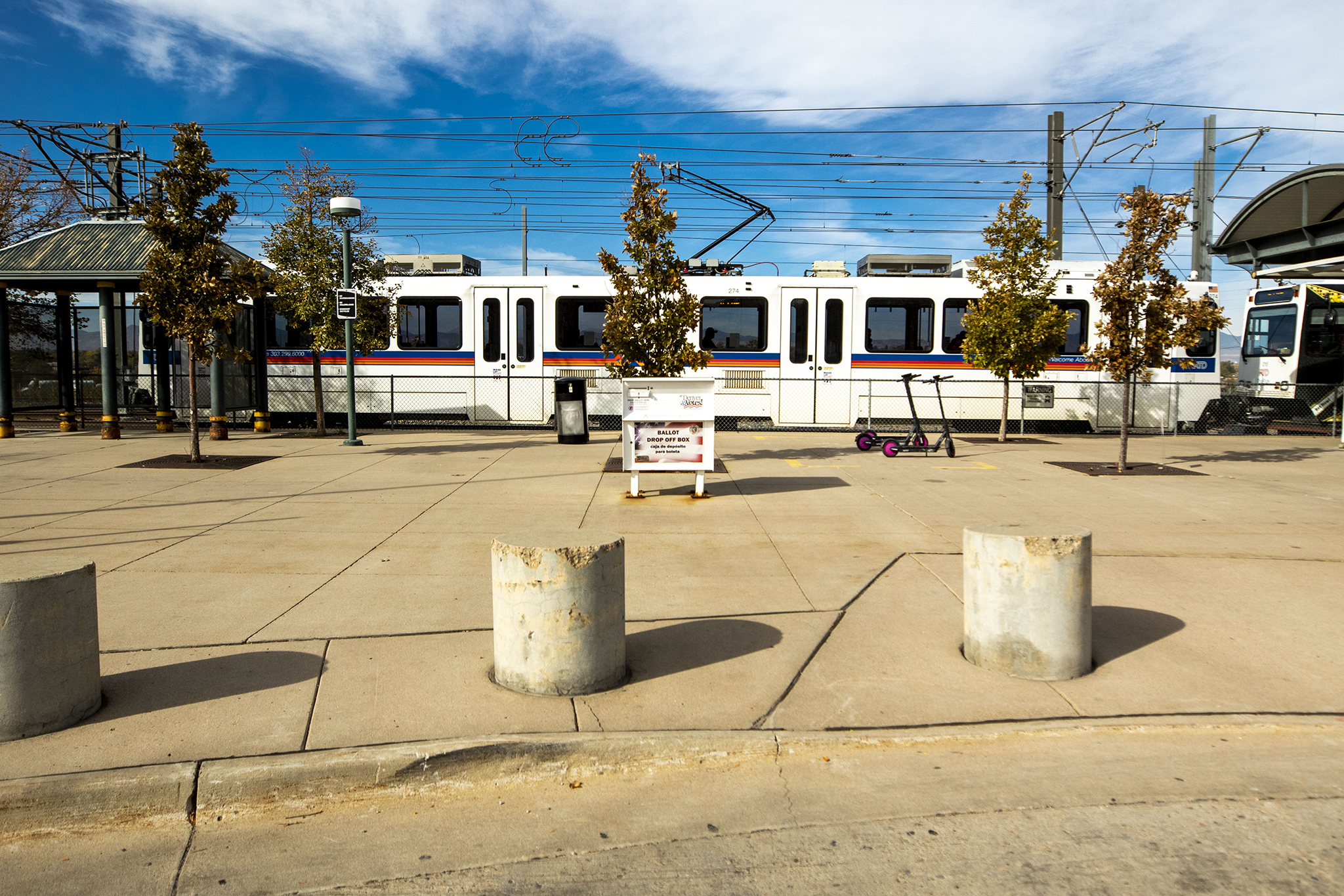 A lonely ballot dropbox at RTD's station at Broadway and I-25. Oct. 16, 2020.