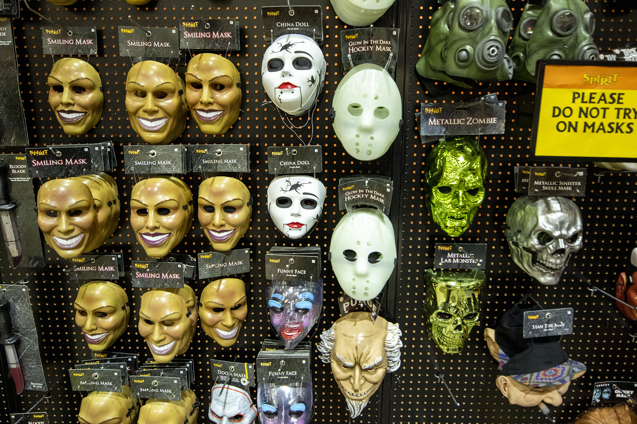 Non-COVID masks for sale Sprit Halloween's seasonal Lone Tree location. Oct. 31, 2020.