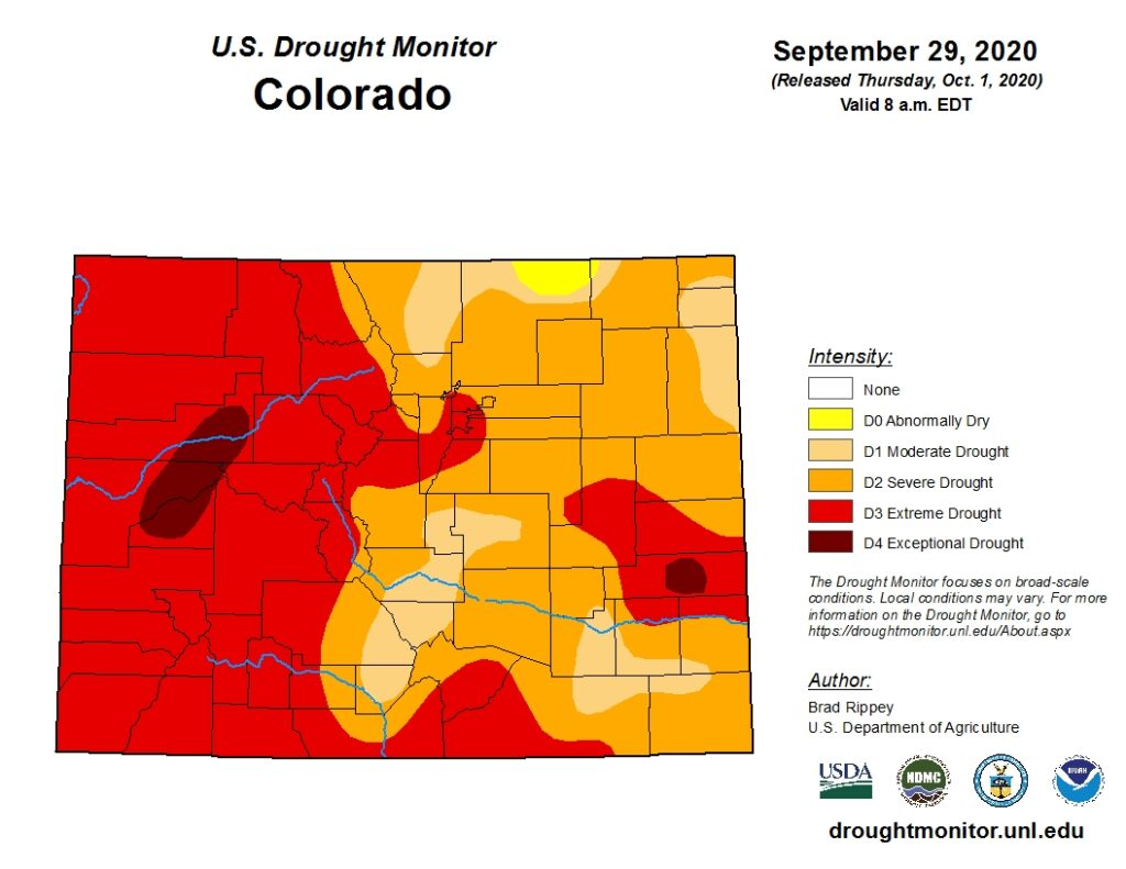 A map of the drought conditions in Colorado as of September 29, 2020