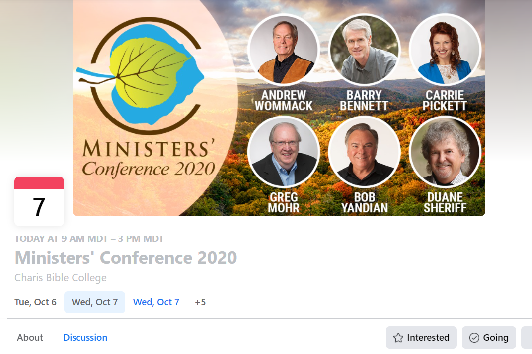 A screenshot of the Facebook event for Andrew Wommack Ministries' Oct. 7 conference.
