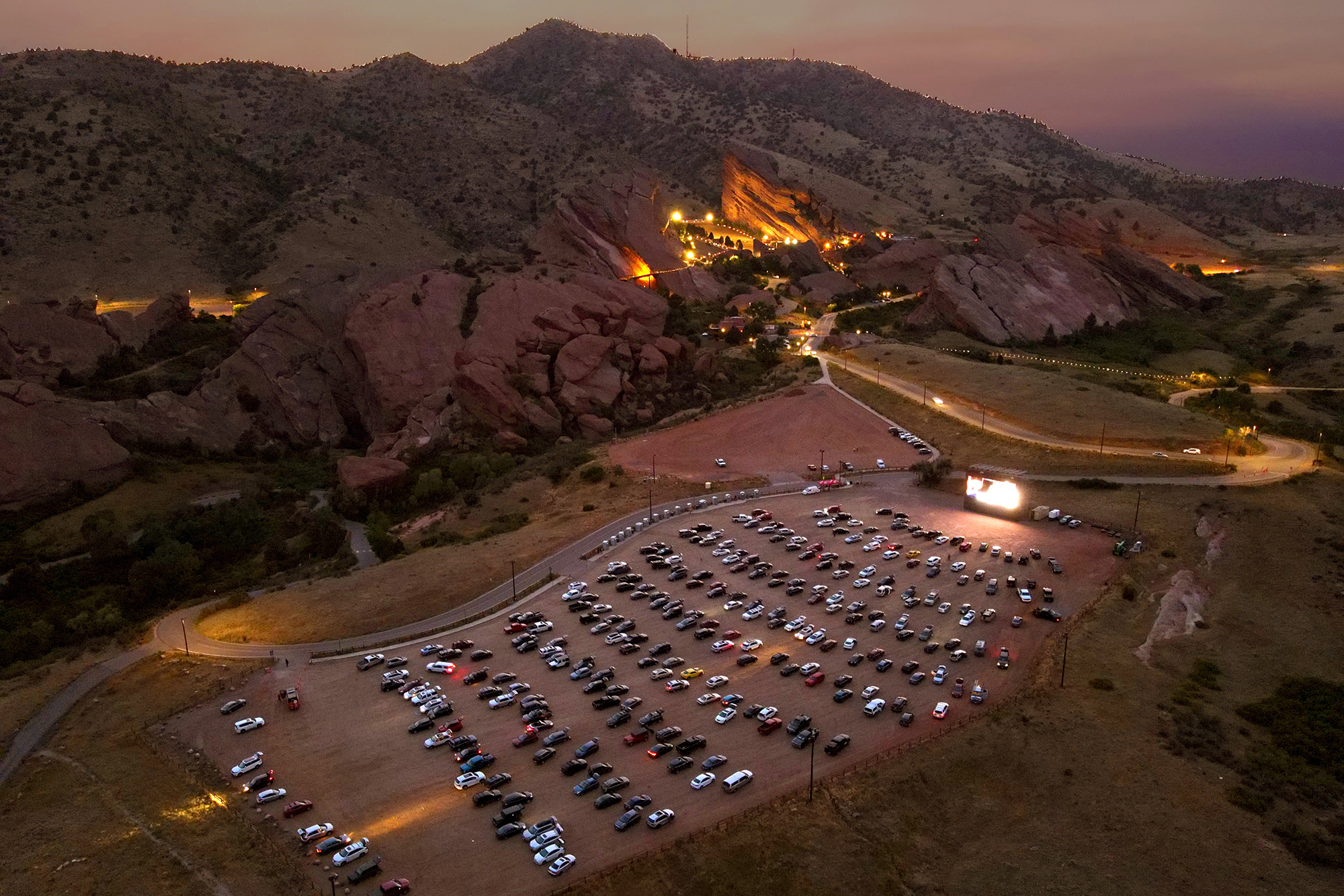 A snapshot from one of Denver Film's Red Rocks summer drive-in screening.
