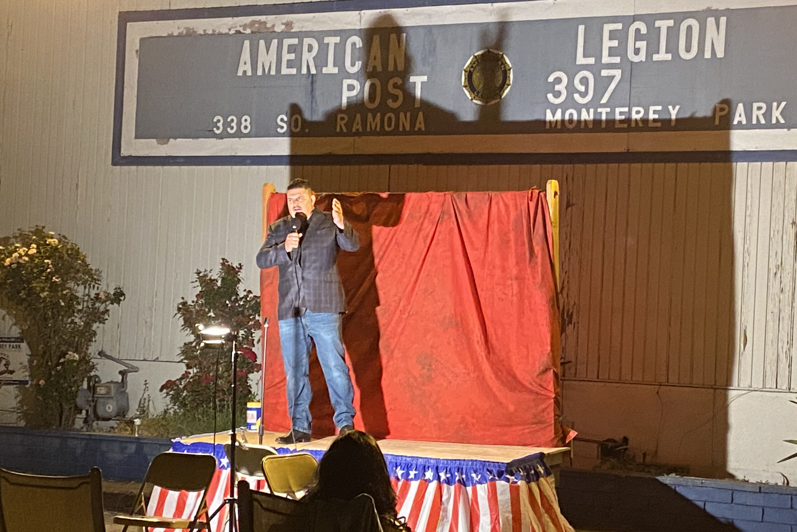 Comedian Fernando Sanchez warms up attendees of American Legion Post 397's comedy night Oct. 10. The Monterey Park, Cal. post has turned to events like this to raise money during the pandemic.