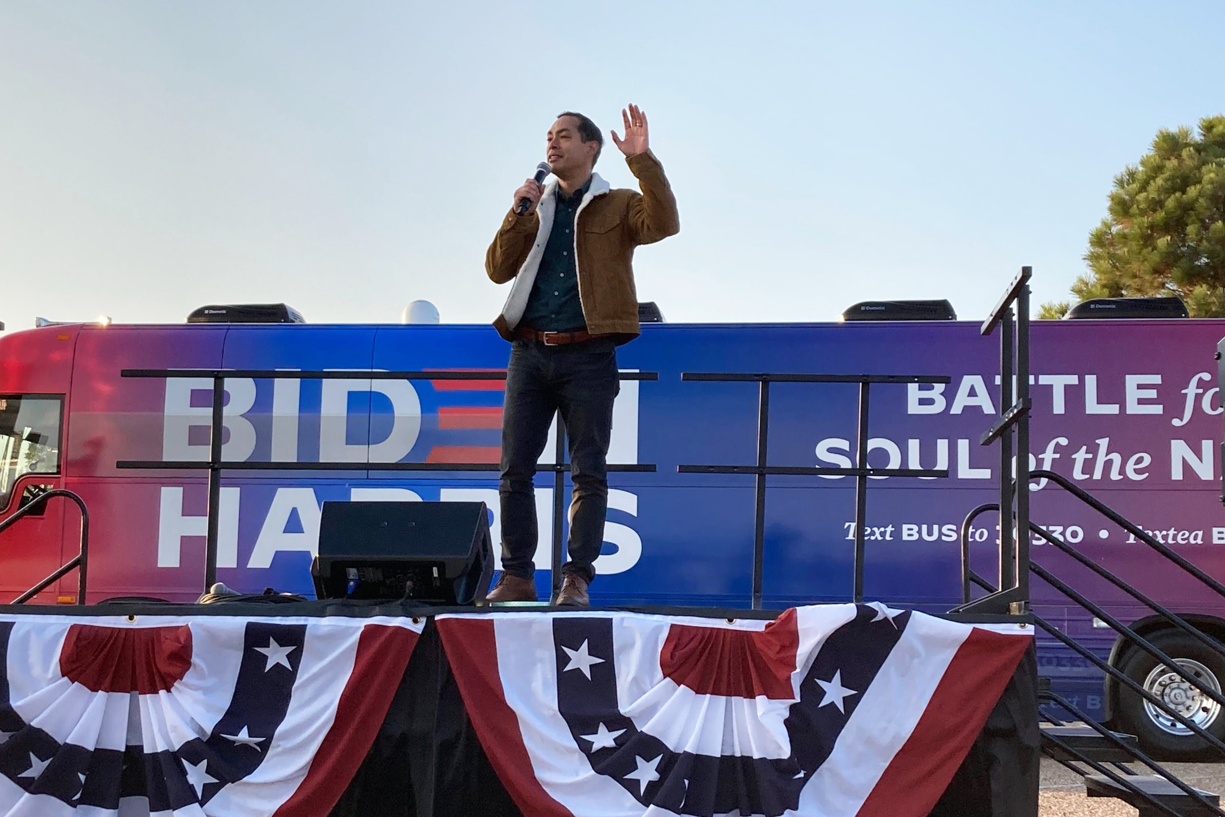 Former Secretary of Housing and Urban Development Julián Castro speaks at a Biden drive-in rally in Pueblo, CO, on October 24, 2020.