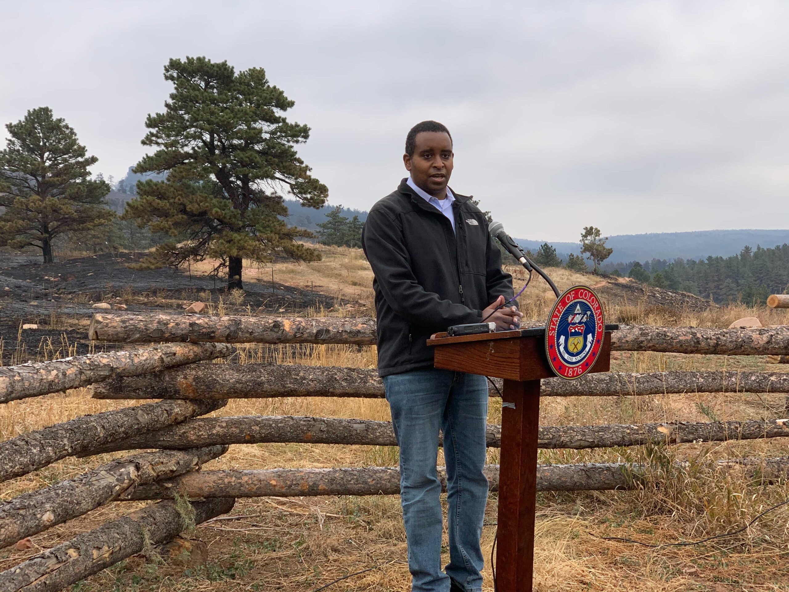 Rep. Joe Neguse provides an update on Colorado wildfires with Gov. Jared Polis on Friday, Oct. 23, 2020.