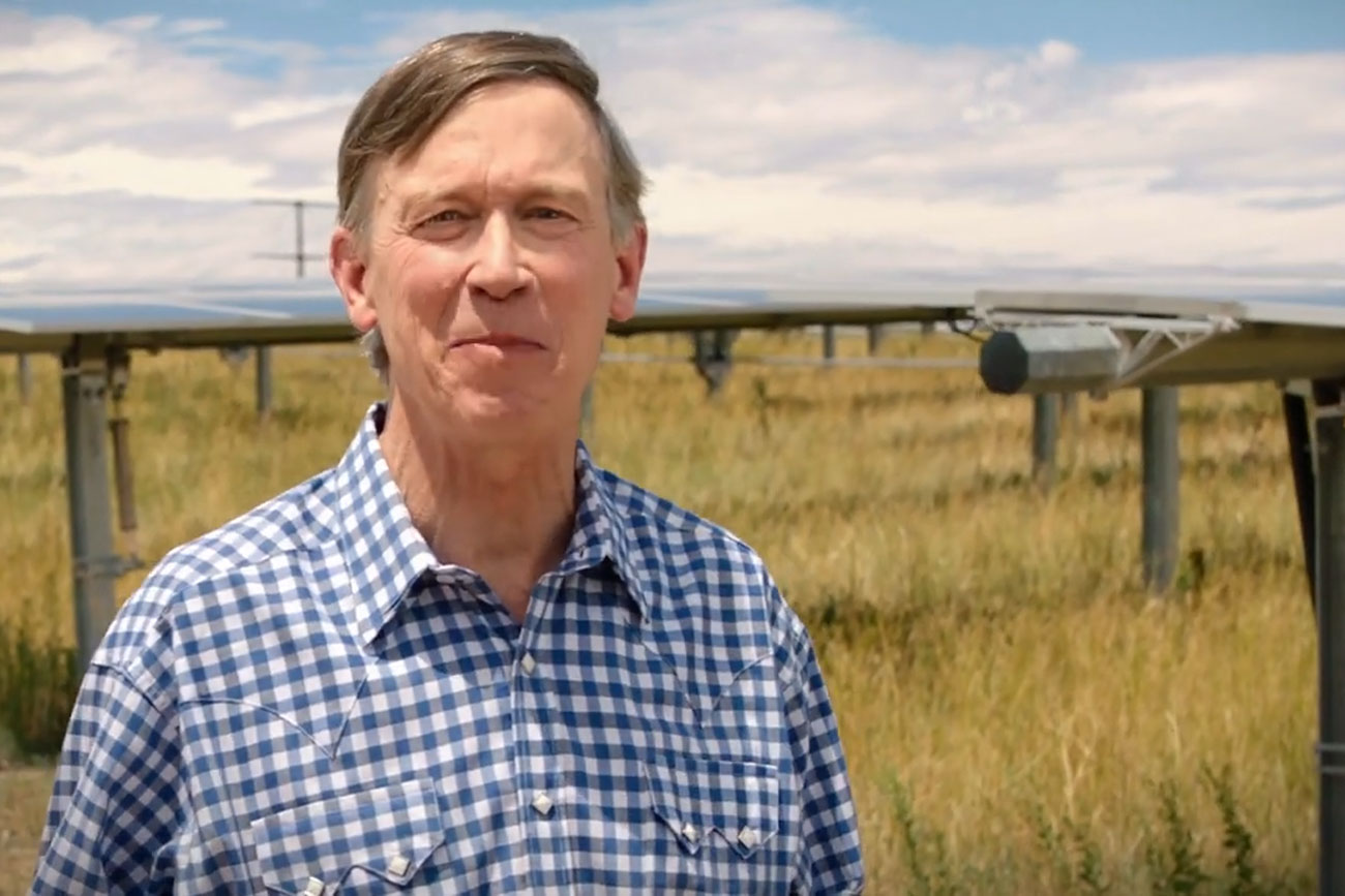 "A screencap still from a John Hickenlooper 2020 Senate race political ad titled ""Power."""