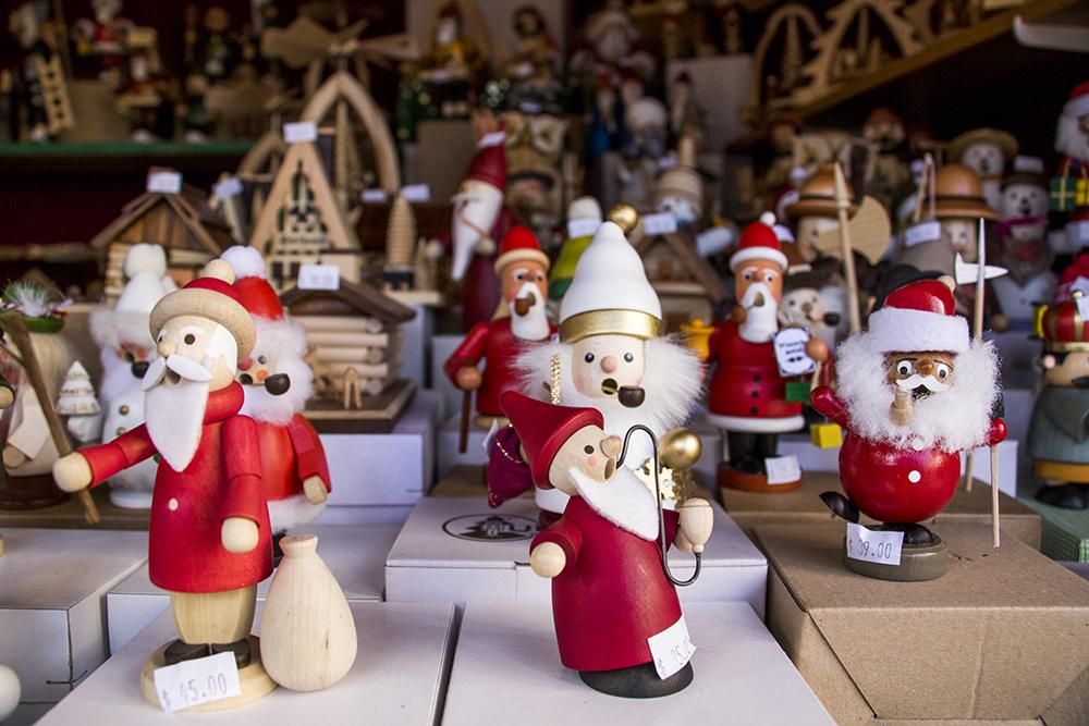 Little wooden men for sale at Old German Christmas, a booth at Skyline Park's  Christkindl Market, Dec. 4, 2017.