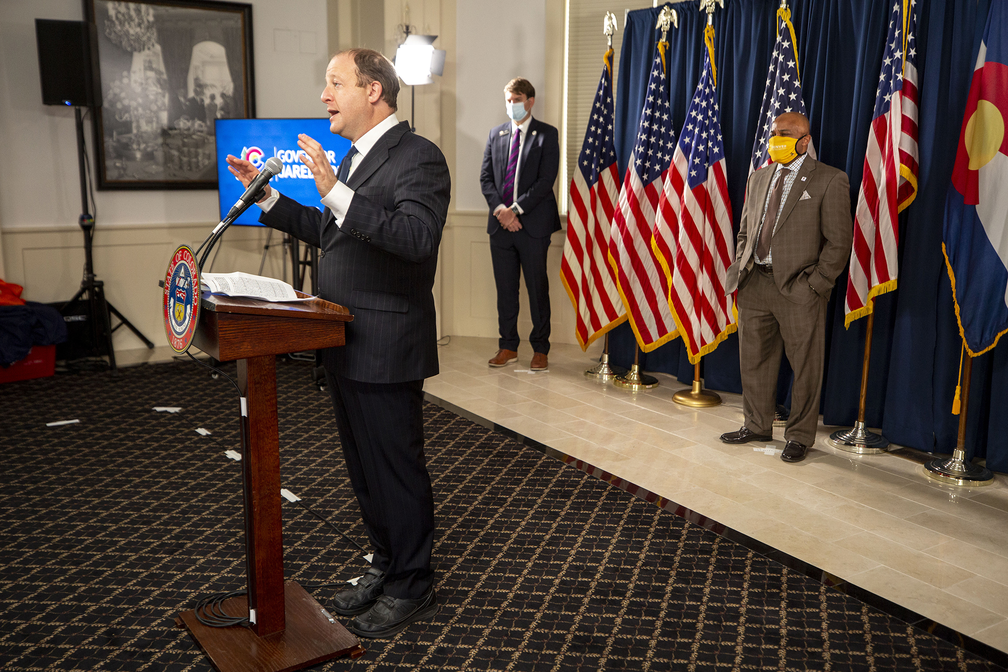 Gov. Jared Polis holds a press conference at the Governor's Mansion in Capitol Hill, Nov. 17, 2020.