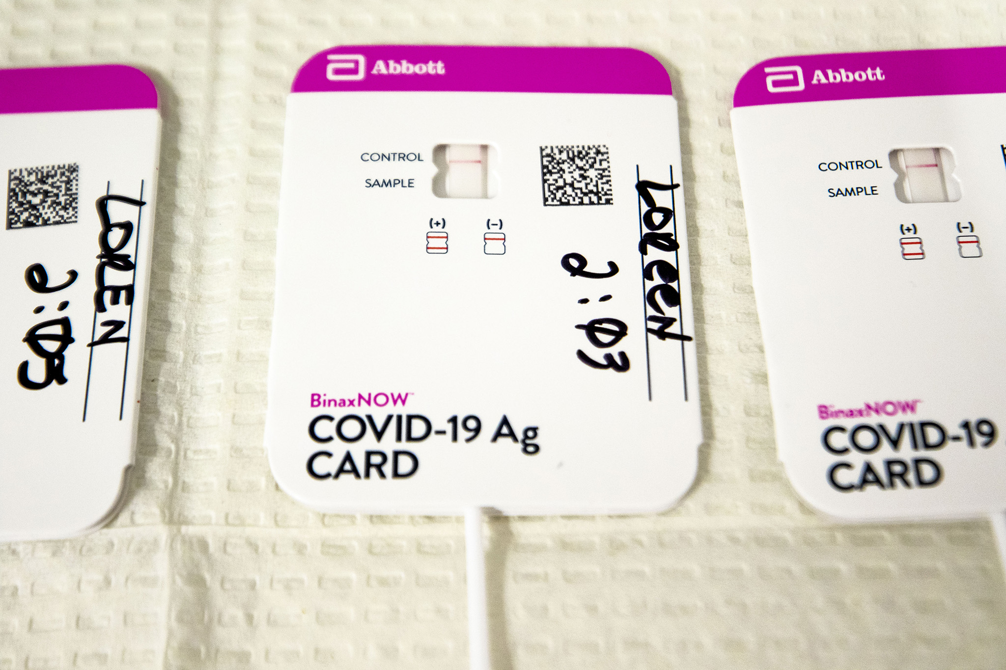 A COVID-19 rapid test in the lab at the Denver Indian Health and Family Services clinic in Sun Valley. Nov. 24, 2020.