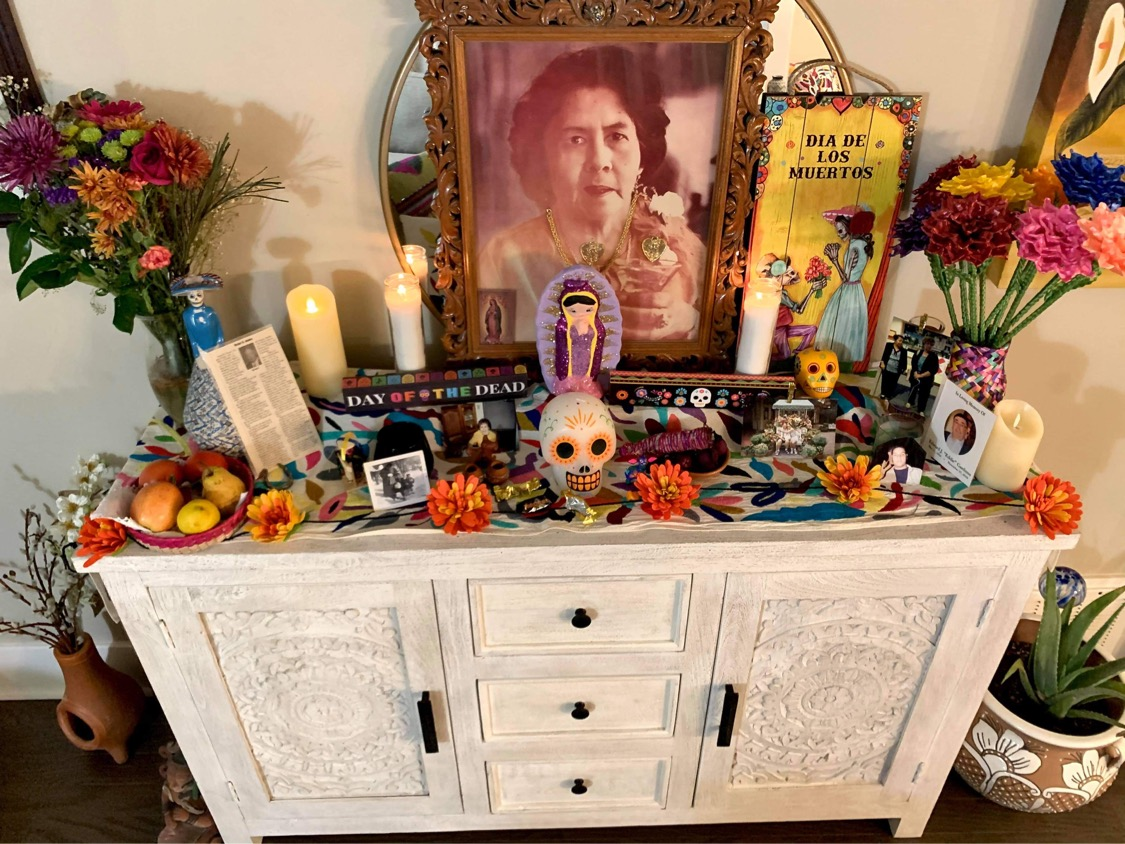 Victoria Obregon's Day Of The Dead altar at home honors her loved ones who've passed away.