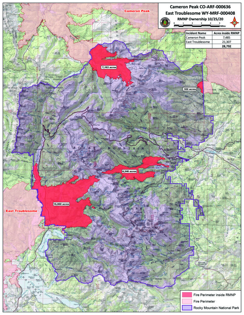 Areas of Rocky Mountain National Park that have burned in the 2020 fire season