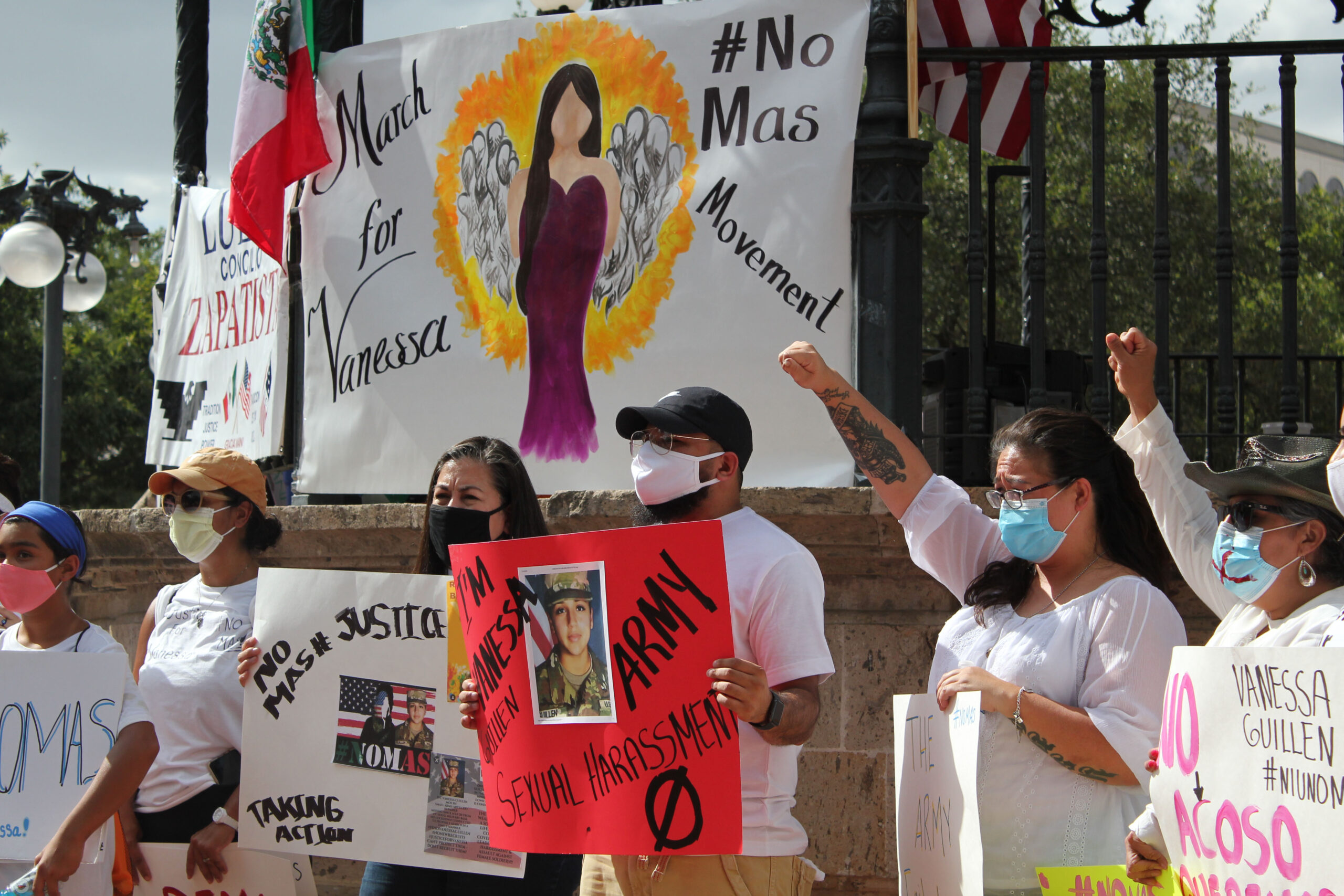 Demonstrators gather in San Antonio in July, shortly after Vanessa Guillen's body was found near Fort Hood.