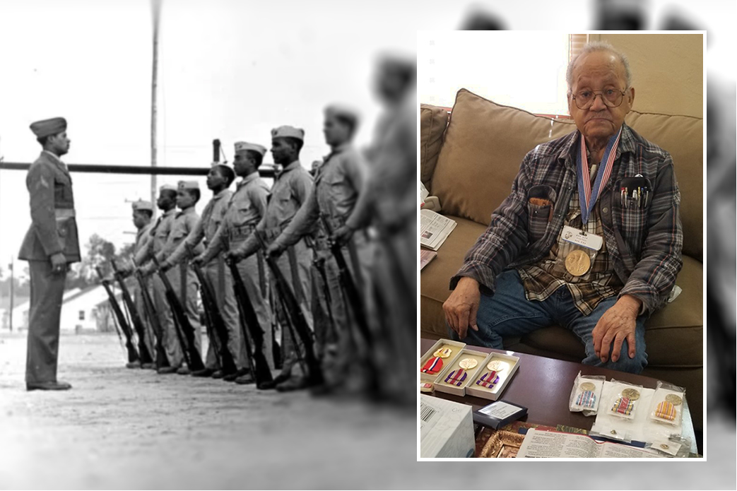 Ninety-five-year-old World War II veteran Luther Hendricks poses with some of his military honors. He was a member of the Montford Point Marines, a group of African-American troops who trained at a segregated camp in North Carolina.