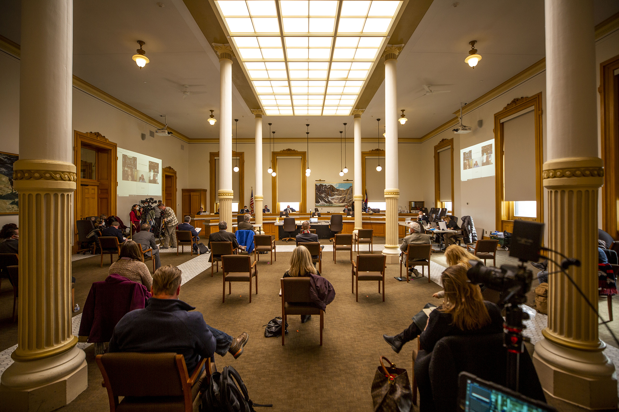 A hearing on election integrity at the Colorado State Capitol. Dec. 15, 2020.