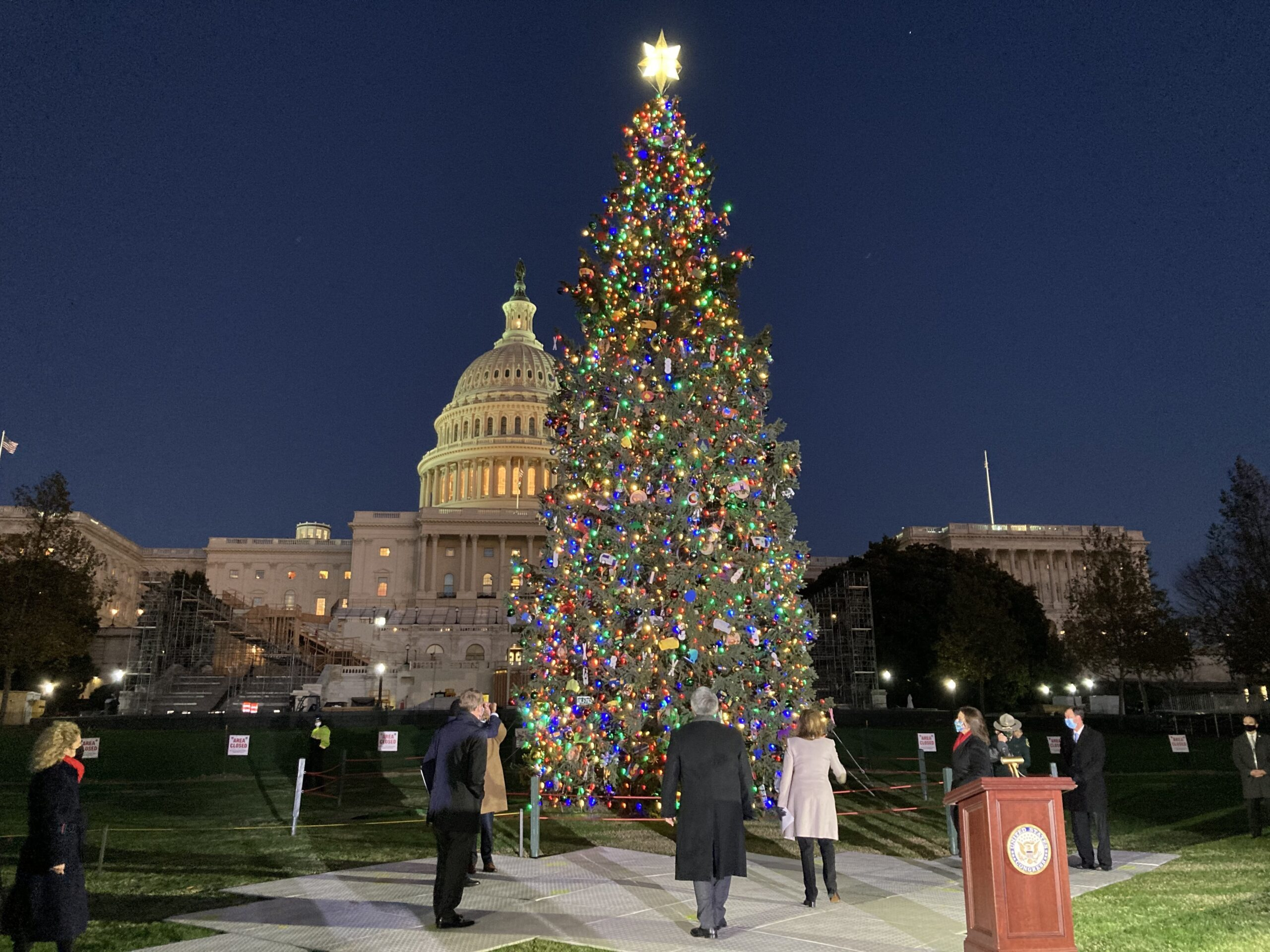 "Members of the Colorado delegation watch as the lights are turned on the Capitol Christmas tree. ""I thank the Colorado delegation and the people of Colorado for blessing our Capitol's Christmas celebration with this magnificent Engelmann Spruse from the GMUG Forest,"" said House Speaker Nancy Pelosi."