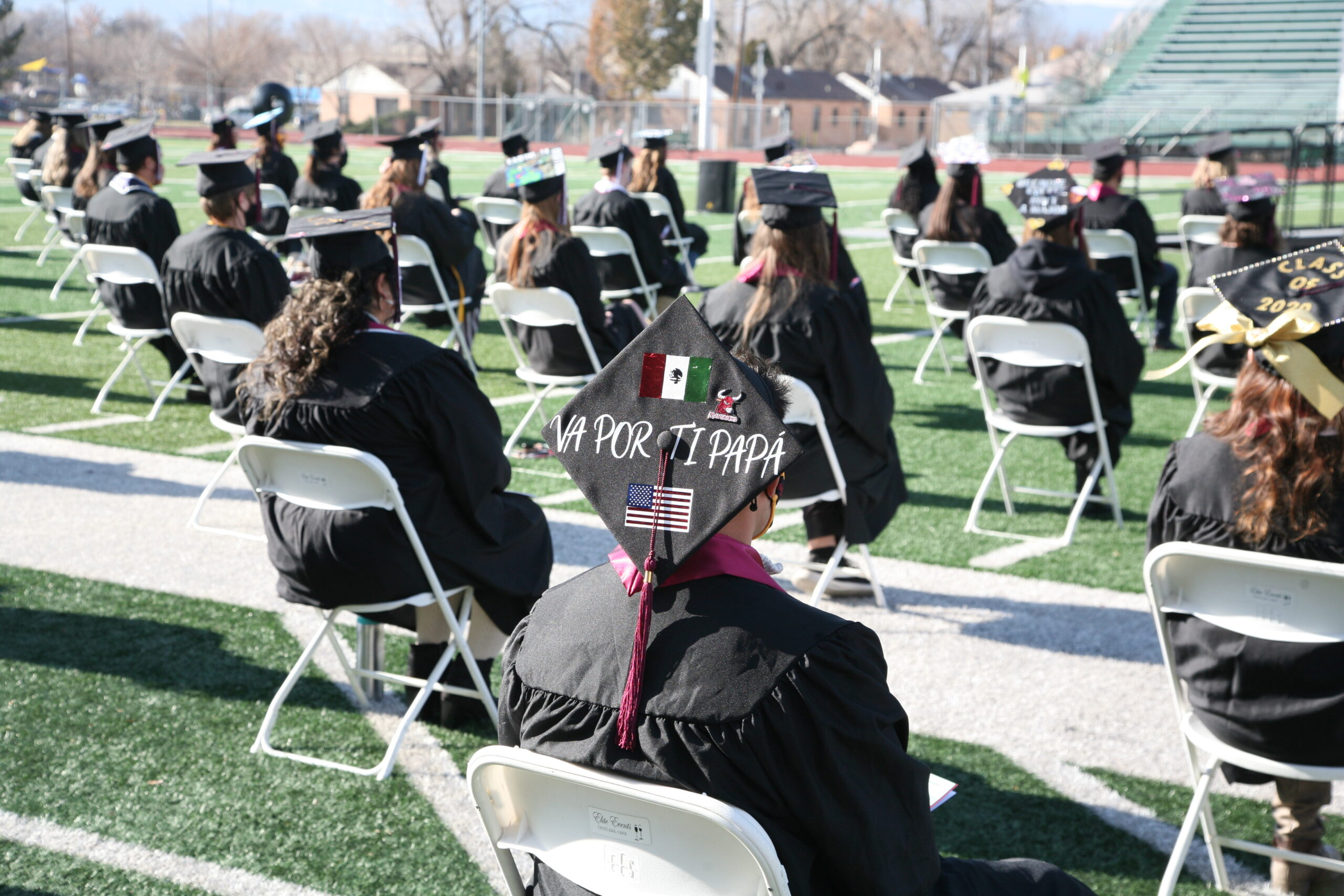 Colorado Mesa University kept its winter graduations small, only a few hundred guests spread out across a stadium that seats 8,000. Everyone who attended had to test negative for the virus beforehand.