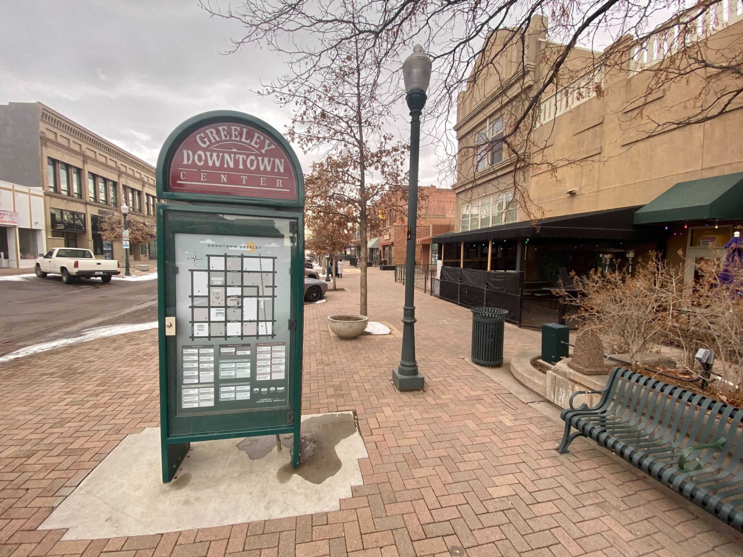 Downtown Greeley on the morning of the second impeachment of President Donald Trump. Greeley is in Weld County, which voted overwhelmingly in favor of re-electing Donald Trump in November's election.