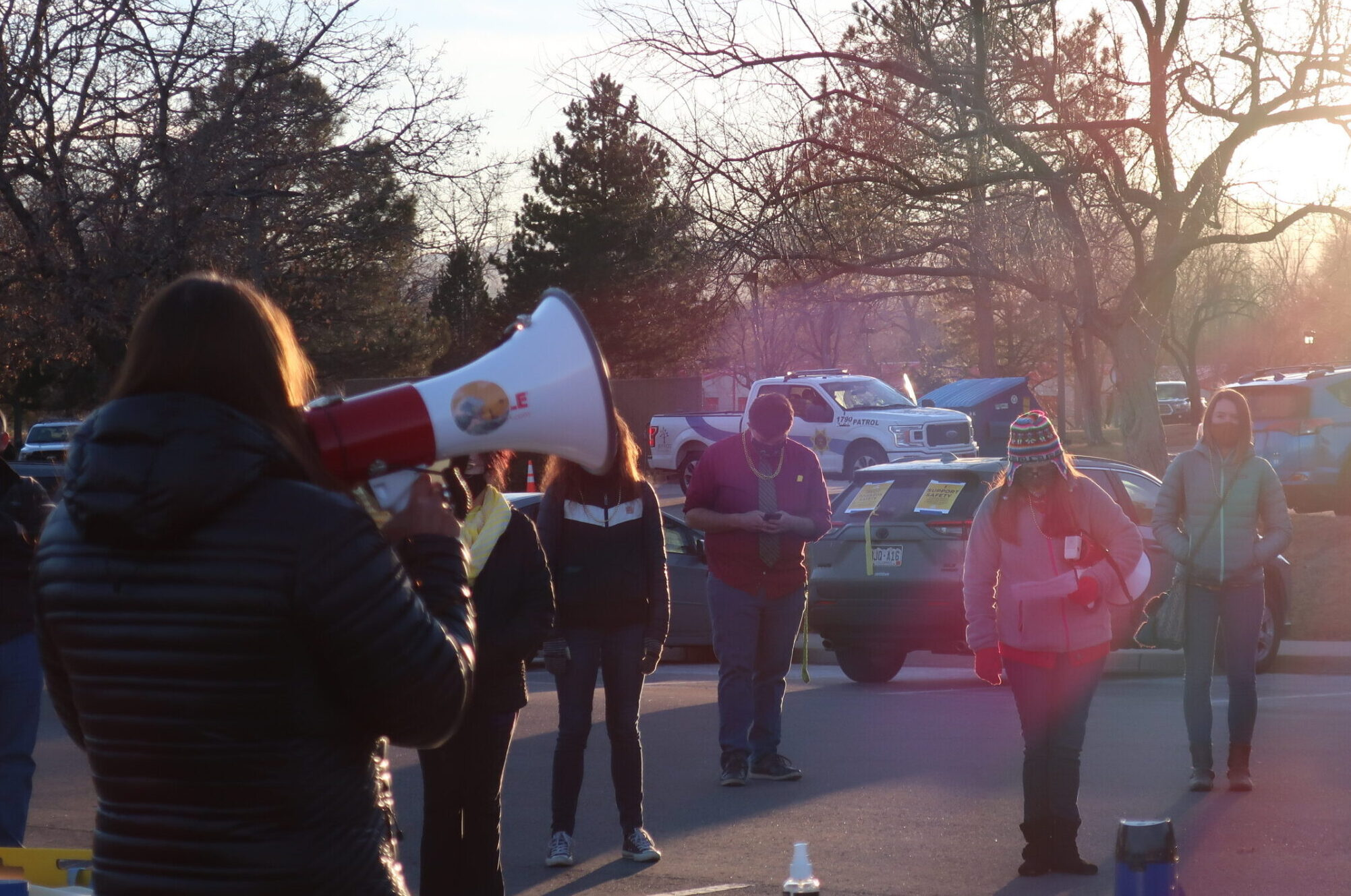 Brooke Williams, president of Jefferson County Education Association, speaks at a teacher protest outside the Jefferson County School District headquarters Wednesday. Teachers are asking the district to postpone in-person learning plans over COVID-19 safety concerns.
