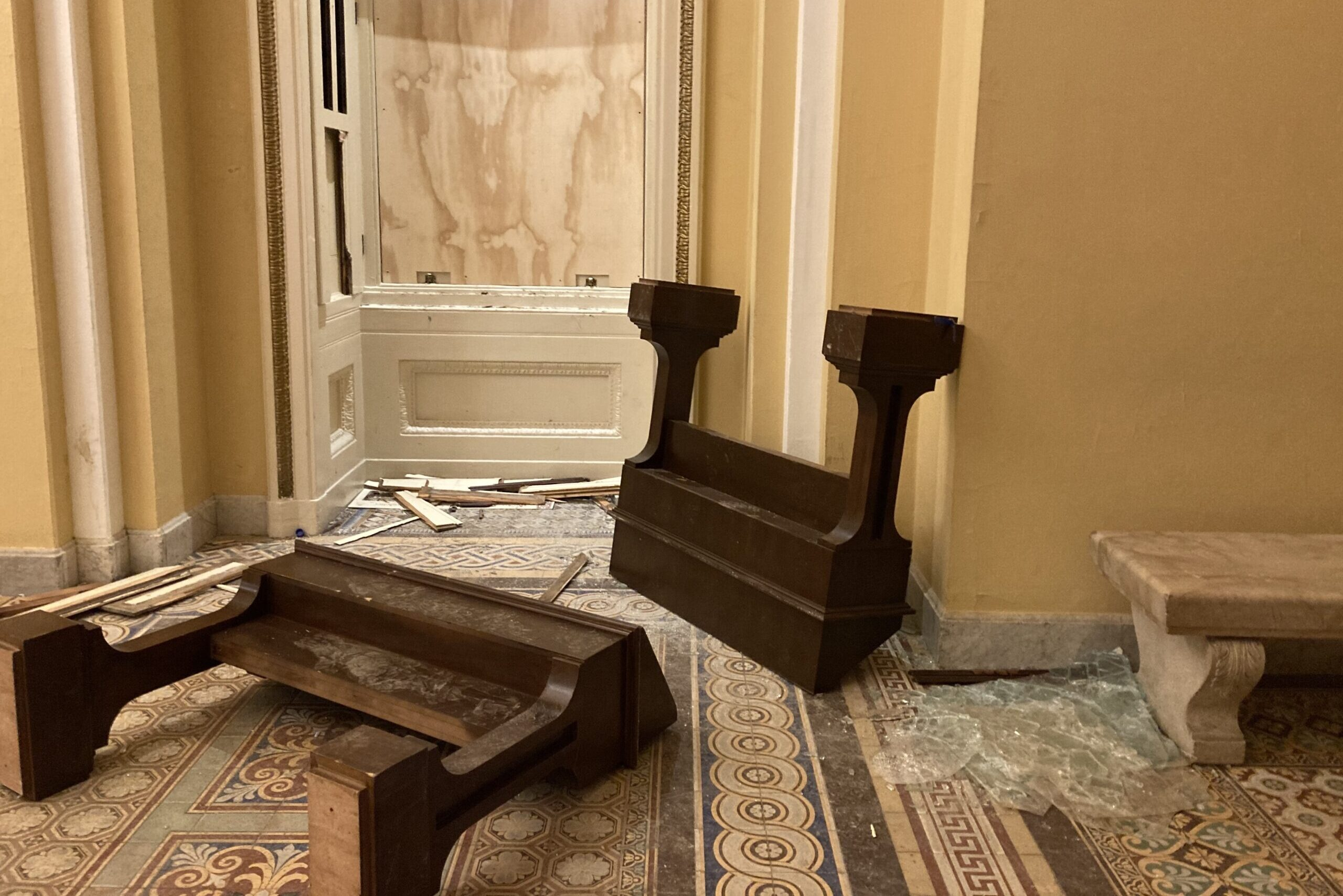 Damage inside the U.S. Capitol after rioters stormed the building on January 6, 2021.