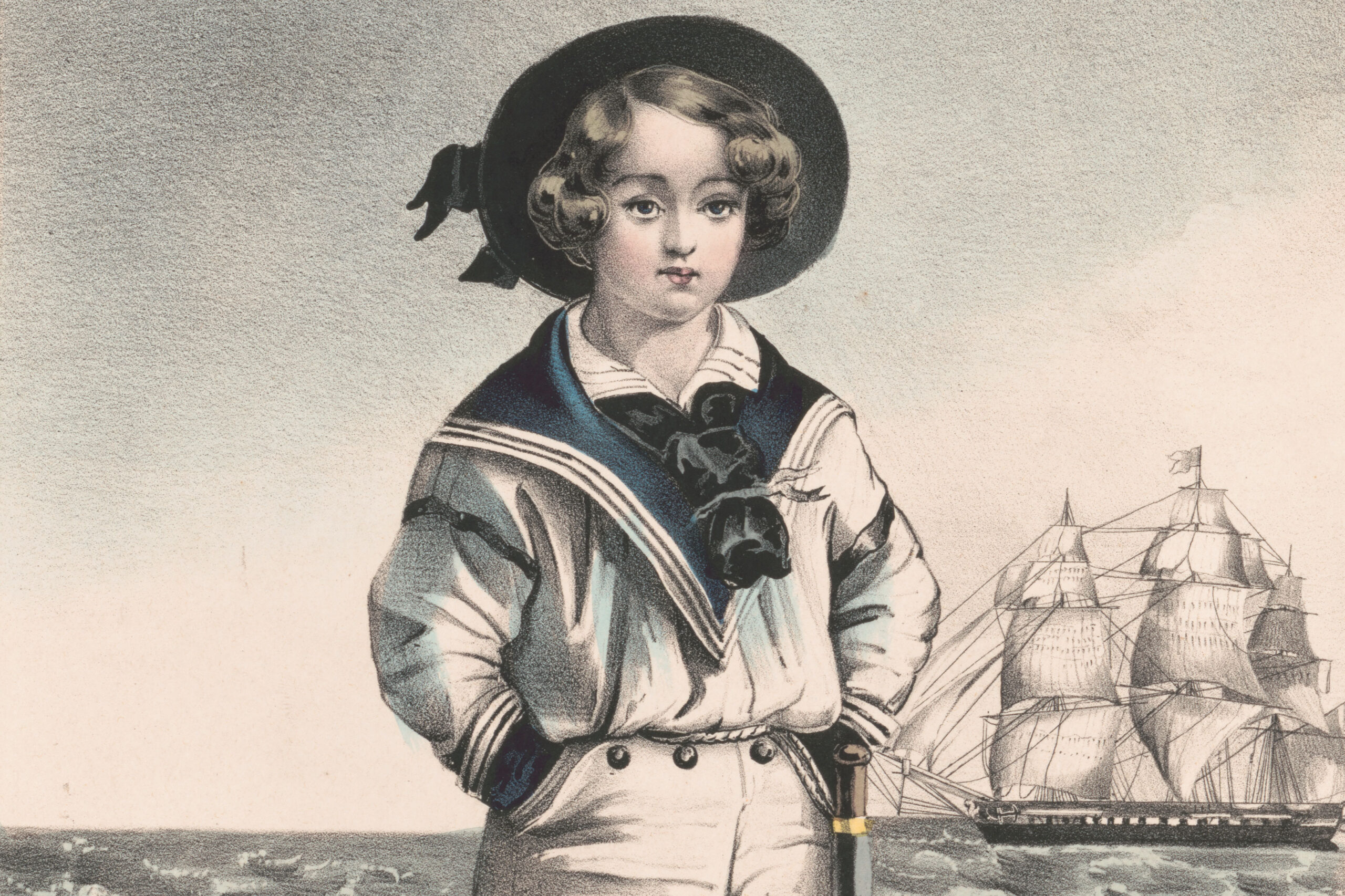 """The young sailor,"" a hand-colored lithograph created in New York, circa 1849, by N. Currier."