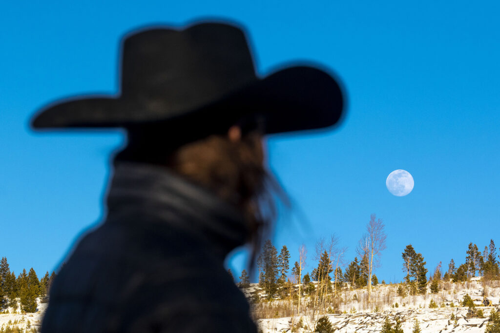 The moon rises over Frisco during a 2 Below Zero sleigh ride. Feb. 25, 2021.