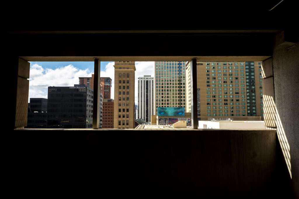 Commercial buildings seen from a downtown Denver parking garage. May 5, 2021.