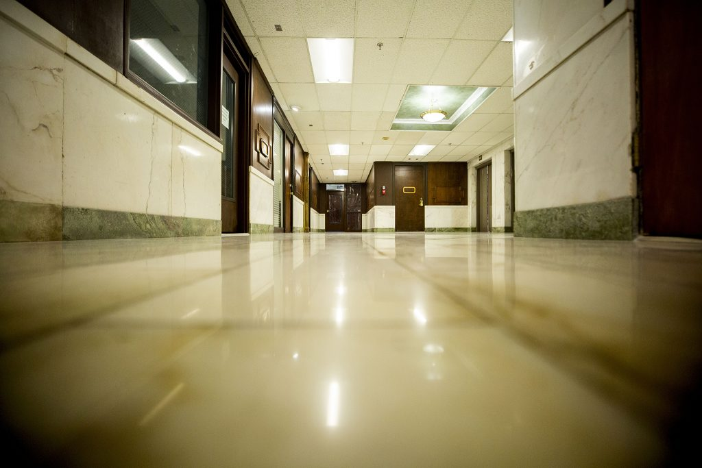 A quiet hallway in the Metropolitan Building in Downtown Denver. May 5, 2021.