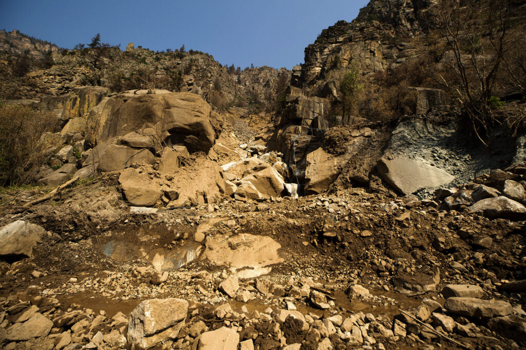 A rockslide in Glenwood Canyon that closed I-70. Aug. 11, 2021.