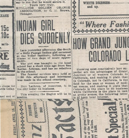 Teller Institute Native American children's death notices in newspapers