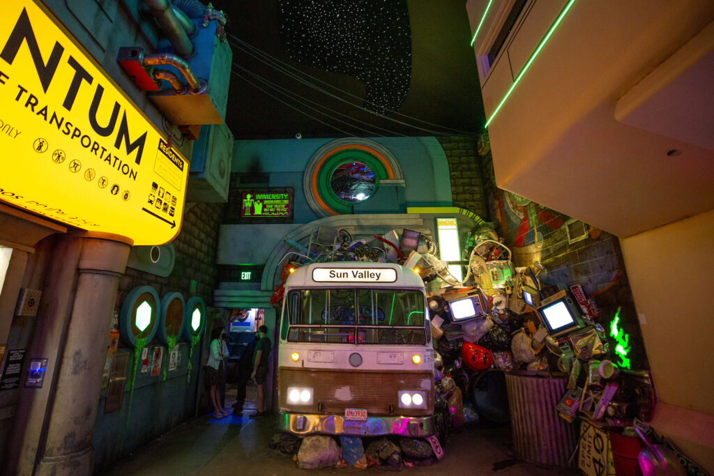 An old RTD bus inside Meow Wolf Denver: Convergence Station. Sept. 13, 2021.