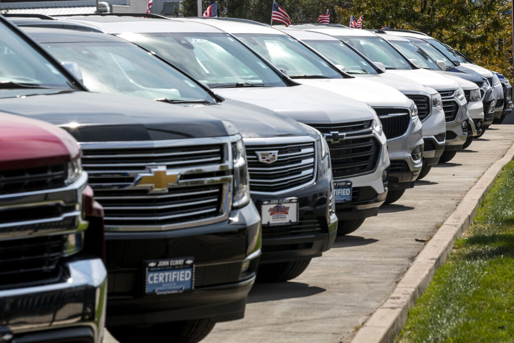 Trucks and SUVs for sale at John Elway Chevrolet in Englewood. Sept. 28, 2021.